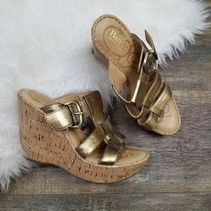 Born Gold Slip On Wedge Sandals Size 8
